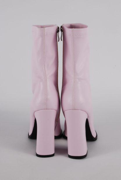 Nasty Gal Pink Block Heel Sock Boots - Size 5 - Back Detail