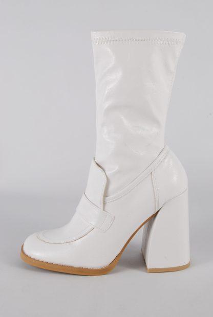 Koi White Block Heel Sock Boots - Size 5 - Side
