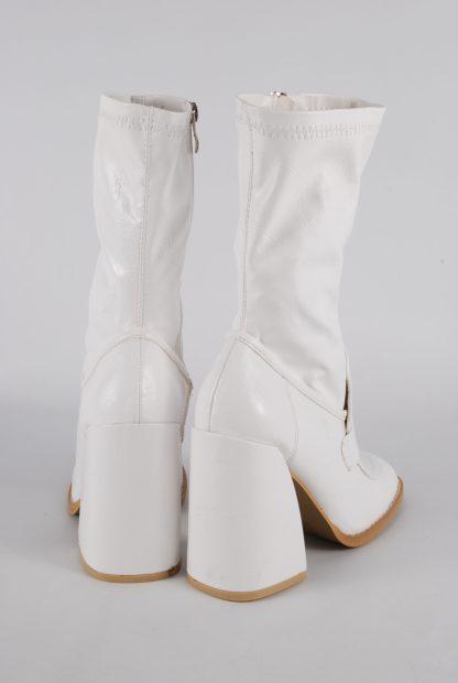 Koi White Block Heel Sock Boots - Size 5 - Back