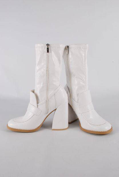 Koi White Block Heel Sock Boots - Size 5 - Inside Leg