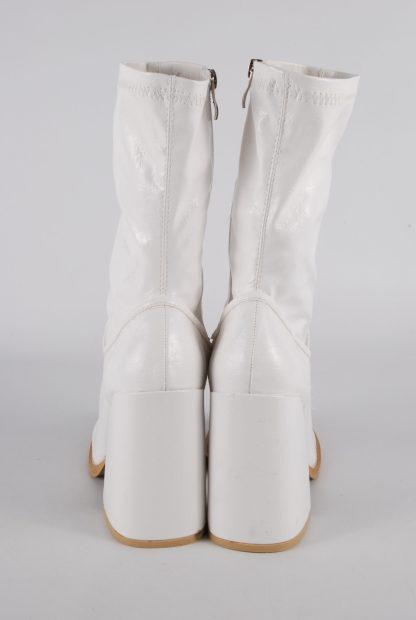Koi White Block Heel Sock Boots - Size 5 - Back Detail