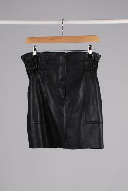 River Island PU Paperbag Mini Skirt - Size 14 - Front