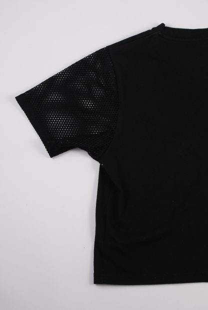 Pink Soda Mesh Sleeve Crop Top - Size M - Back Detail