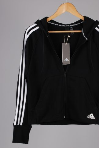 Adidas Black Hooded Track Top - Size S - Front Detail