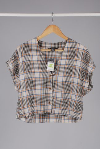 Primark Check Pattern Boxy Crop Top - Size 12 - Front