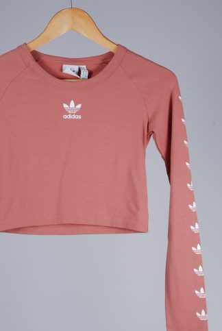 Adidas Pink Branded Crop Top - Size 8 - Front Detail