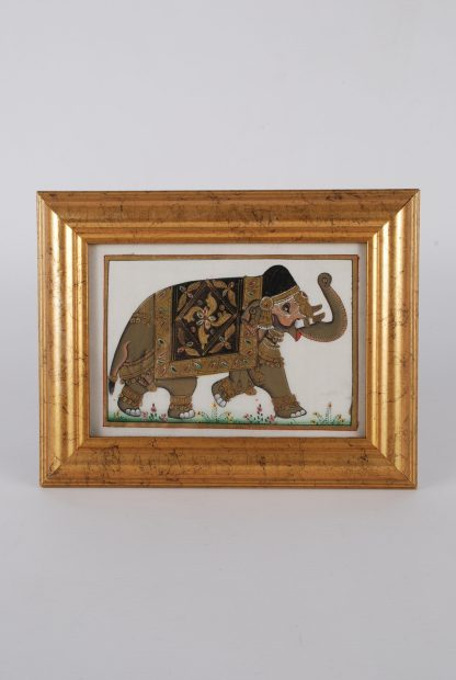 Framed Indian Silk Elephant Painting - Front