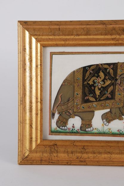 Framed Indian Silk Elephant Painting - Tail Detail