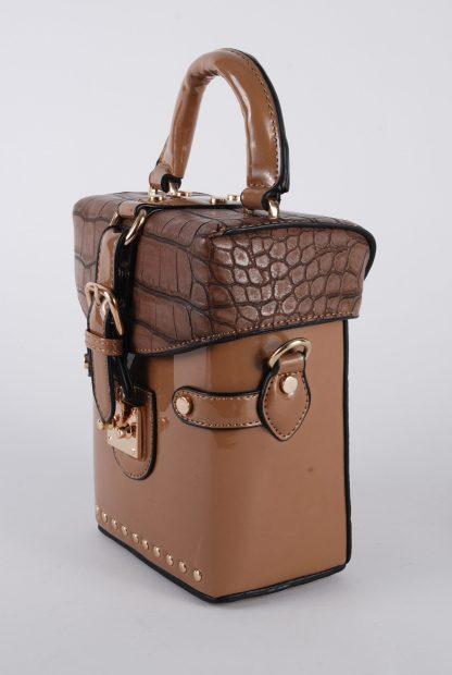 Brown PU Box Bag - Side