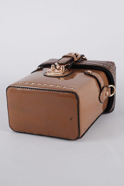 Brown PU Box Bag - Bottom