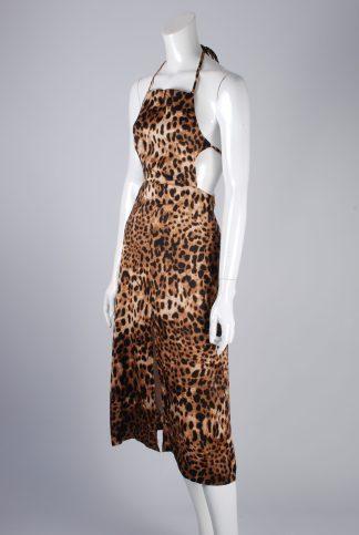 Boohoo Animal Print Halter Neck Dress - Size 10 - Side