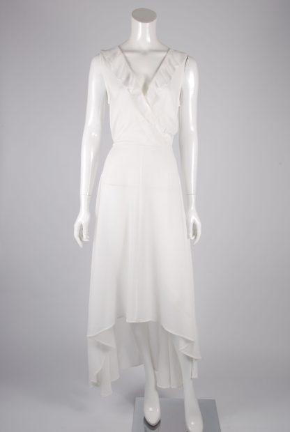 AX Paris White Plunge Maxi Dress - Size 8 - Front