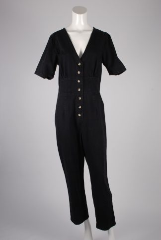 ASOS Black Distressed Denim Jumpsuit - Size 12 - Front