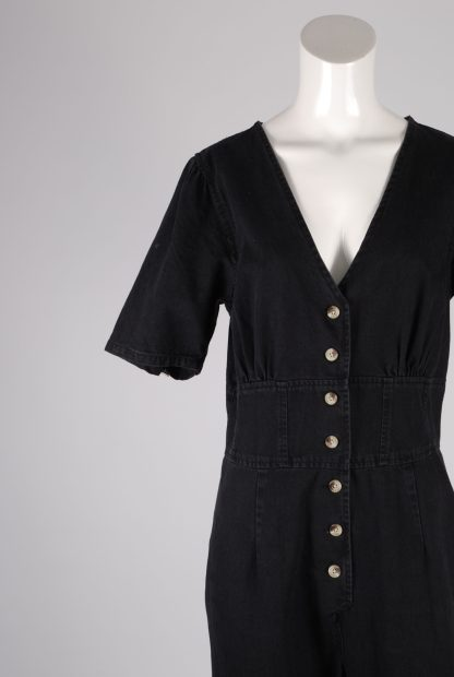 ASOS Black Distressed Denim Jumpsuit - Size 12 - Front Detail