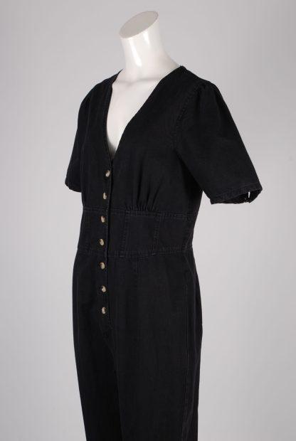ASOS Black Distressed Denim Jumpsuit - Size 12 - Side Detail