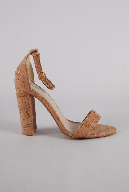 Glamorous Cork Style Strappy Heels - Size 5 - Side