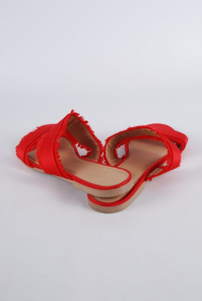 Pieces Red Fringed Slip On Sandals - Size 5 - Back