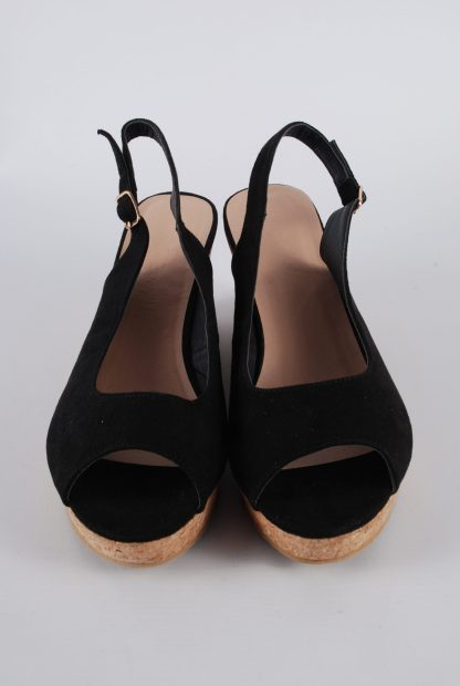 Simply Be Black Wedge Sandals - Size 7 - Front Detail