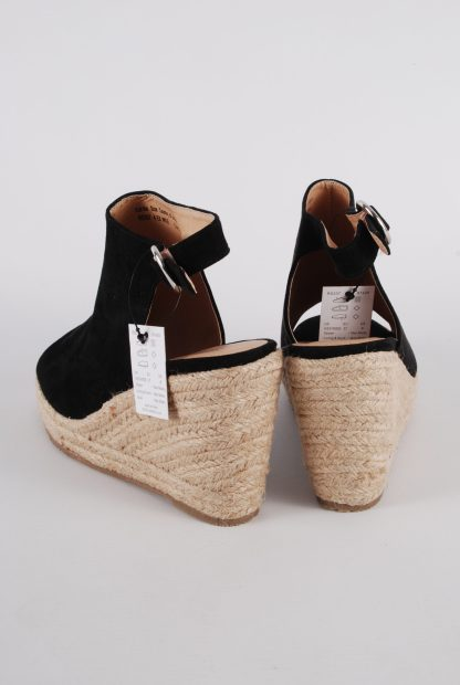 Simply Be Black Wedge Sandals - Size 4 - Back
