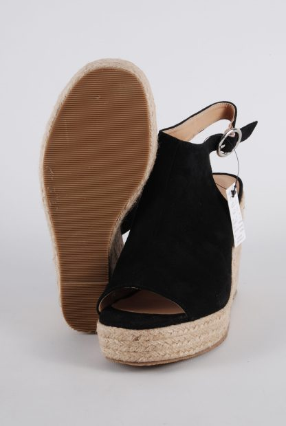 Simply Be Black Wedge Sandals - Size 4 - Sole