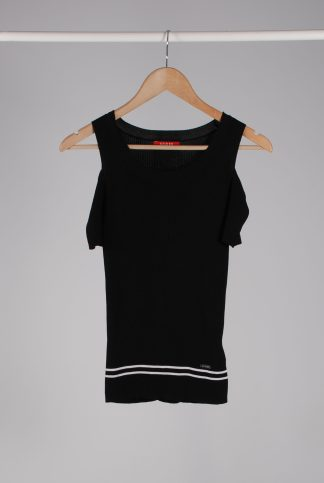 Guess Black Cold Shoulder Ribbed Top - Size XS - Front