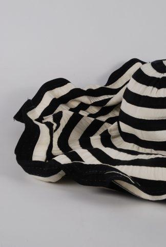 Filippo Catarzi Black & Cream Striped Sun Hat - Front Detail