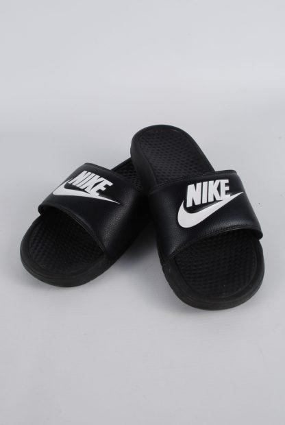 Nike Black & White Sliders - Size 8 - Front