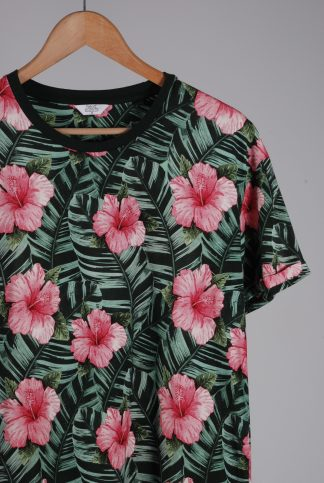 Next Green & Pink Floral Tee - Size M - Front Detail