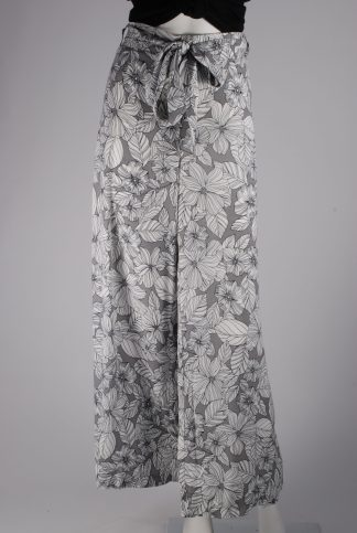 M&S Grey & White Floral Trousers - Size 16 - Front