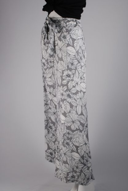 M&S Grey & White Floral Trousers - Size 16 - Side