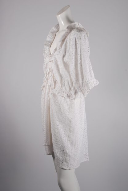 White Broderie Mini Dress - Size 16 - Side