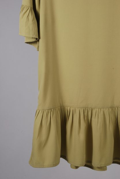 Boohoo Petite Green Frill Hem Dress - Size 8 - Front Hem