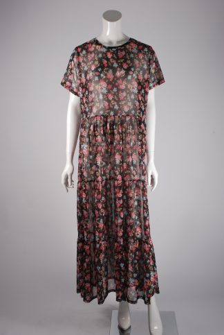 Very Sheer Floral Maxi Dress - Size 20 - Front
