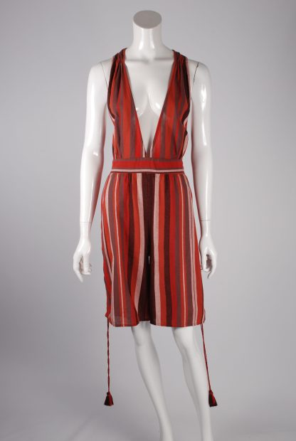 Unique Collections Red Striped Playsuit - Size 16 - Front