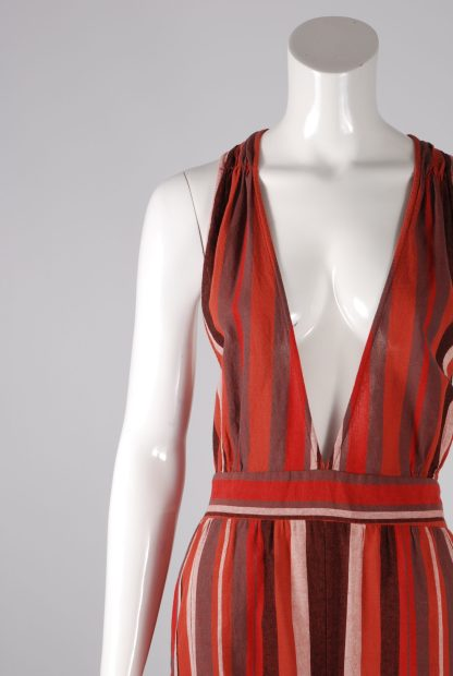 Unique Collections Red Striped Playsuit - Size 16 - Front Detail