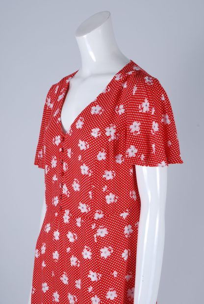 Red and White Floral Tea Dress - Size 10 - Side Detail