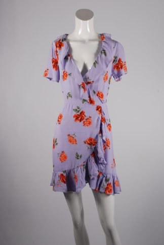 Nobody's Child Purple Floral Wrap Dress - Size 6 - Front