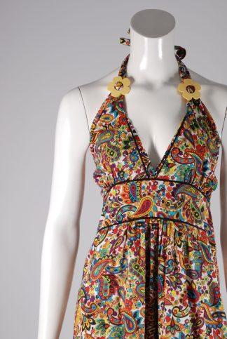 Flower & Paisley Halter Neck Maxi Dress - Size M - Front Detail
