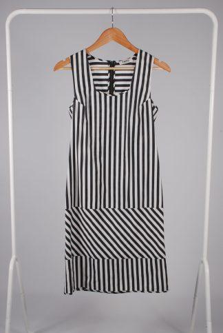 Farhi By Nicole Farhi Grey Stripe Dress - Size 6 - Front