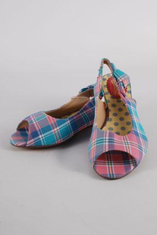 Joe Browns Pastel Check Sandals - Size 4 - Front
