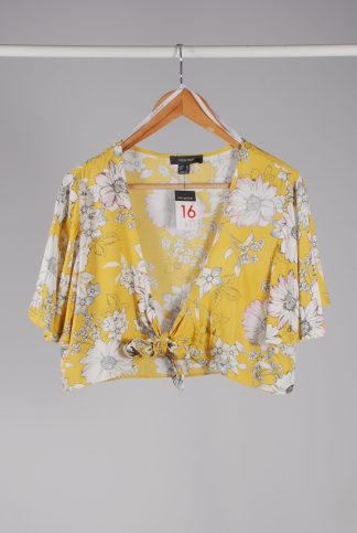Primark Yellow Floral Crop Top - Size 16 - Front