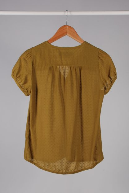 French Connection Green Textured Blouse - Size 10 - Back