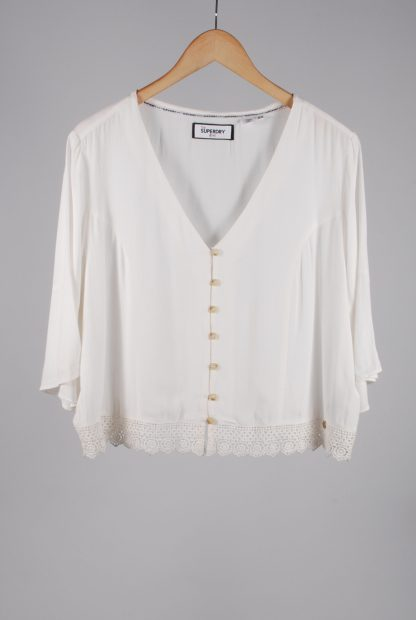 Superdry White Crop Top - Size 16 - Front
