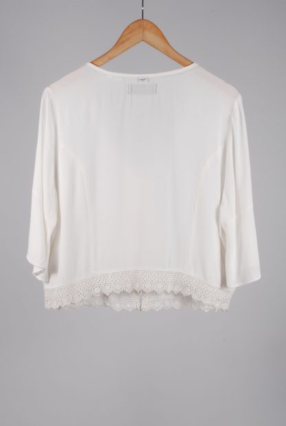Superdry White Crop Top - Size 16 - Back