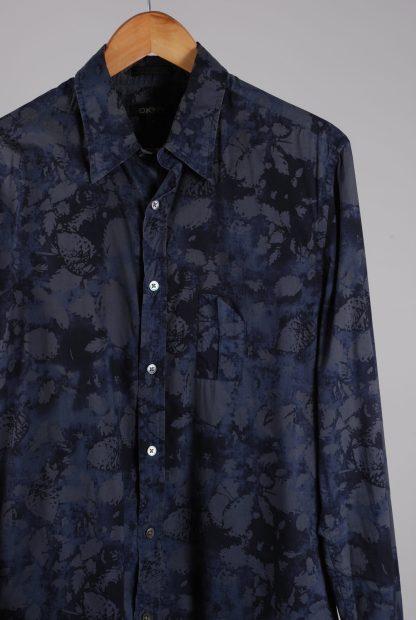 DKNY Blue/Grey Leaf Pattern Shirt - Size M - Front Detail