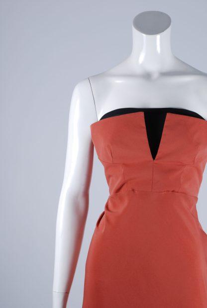 Topshop Orange Structured Bandeau Dress - Size 10 - Front Detail