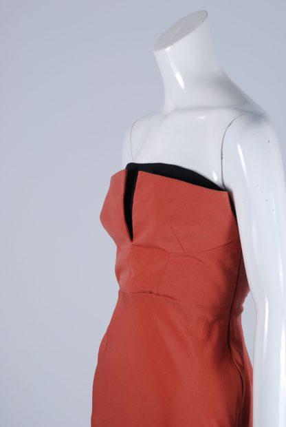 Topshop Orange Structured Bandeau Dress - Size 10 - Side Detail