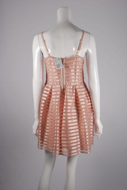 H&M Neutral Striped Mesh Skater Dress - Size L - Back