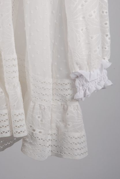 Boohoo Cream & White Broderie Dress - Size 16 - Front Hem