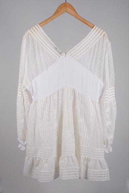 Boohoo Cream & White Broderie Dress - Size 16 - Back